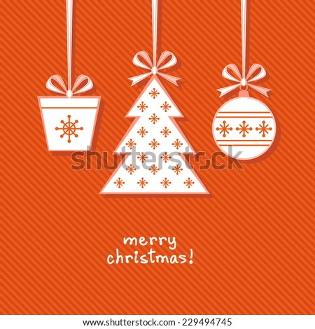 Vector Christmas tree, ball, gift with ribbon and bow. Greeting, invitation cute card. Original design element. Decorative illustration for print, web - stock vector