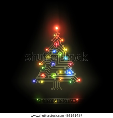 Vector christmas tree from digital electronic circuit and colorful lights - stock vector