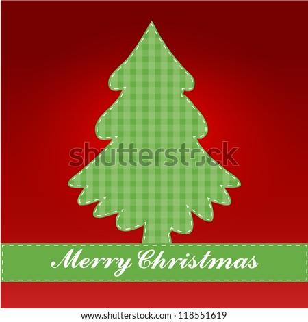 Vector Christmas Tree Greeting Card - stock vector