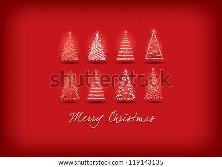 Vector Christmas tree greeting. Hand drawing. Easy editable CMYK color mode for prints. - stock vector