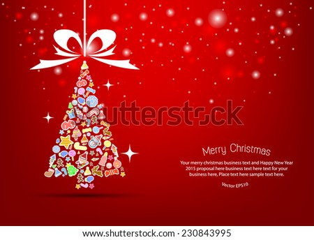 Vector christmas tree icon. Vector illustration for christmas card.