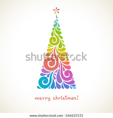 Vector Christmas tree made from swirl shapes. Original modern design element with floral ornament. Greeting, invitation cute card. Simple decorative color illustration for print, web
