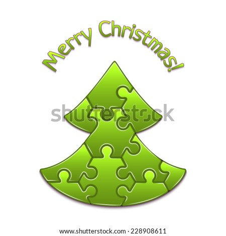 Vector christmas tree maded from hexahedron puzzles - stock vector