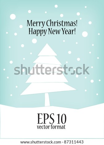 Vector Christmas tree. Modern New Year card. - stock vector