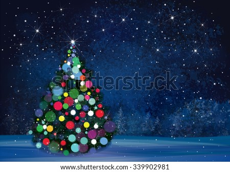 Vector Christmas tree on wonderland night background. - stock vector