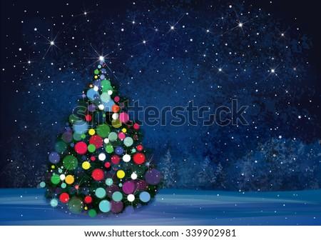 Vector Christmas tree on wonderland night background. - stock vector