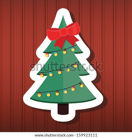 Vector Christmas Tree on Wooden Background - stock vector