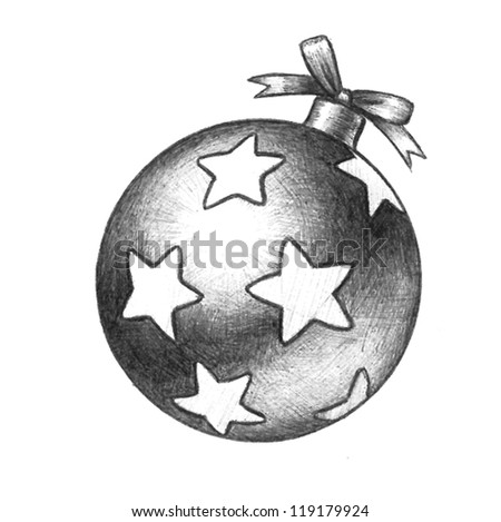 Vector Christmas Tree Ornament Illustration That Is A Detailed Hand Drawn Sketch And Has Decoration