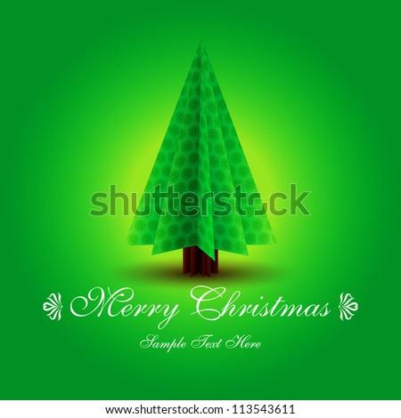 Vector Christmas tree / Simple vector Christmas tree made from origami paper / Origami Christmas tree greeting card / Green origami Christmas tree on green bacgrounds - stock vector