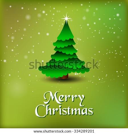 Vector Christmas tree / Simple vector Christmas tree made from origami paper / Origami Christmas tree greeting card  - stock vector
