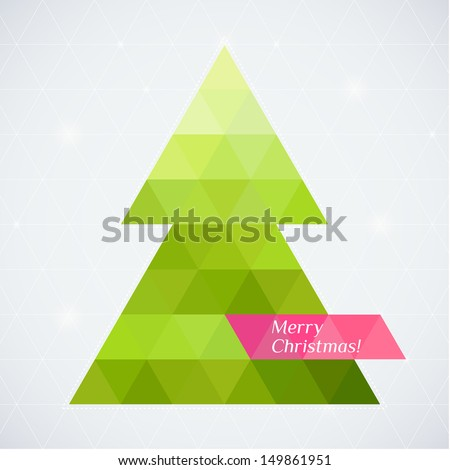 Vector christmas tree triangle lights background card design template - stock vector