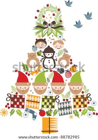 vector - christmas tree with nice cartoon element - stock vector