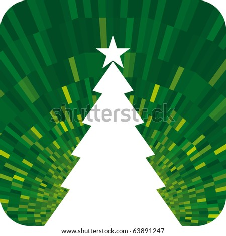Vector Christmas tree with shine green background - stock vector