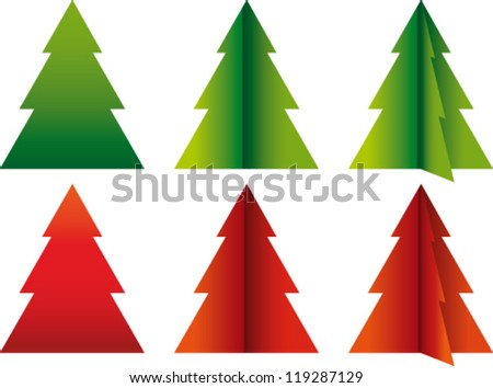 Vector christmas trees in red and green - stock vector