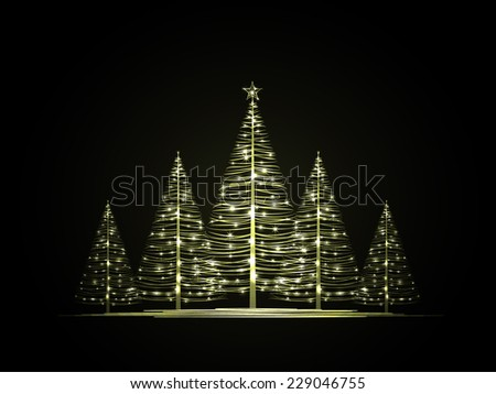 Vector Christmas trees on a dark background - stock vector