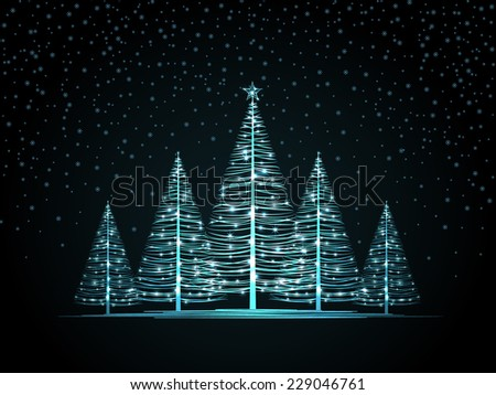 Vector Christmas trees on a dark background - stock vector
