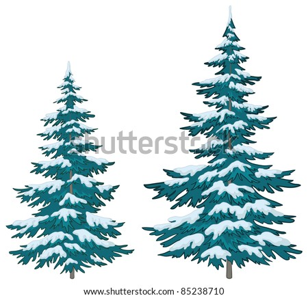 Vector, christmas trees under snow on a white background - stock vector