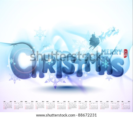 Vector Christmas Typography with 2012 Calendar - stock vector