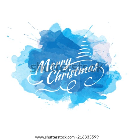 Vector Christmas watercolor background with calligraphic logo. New Year card.  - stock vector