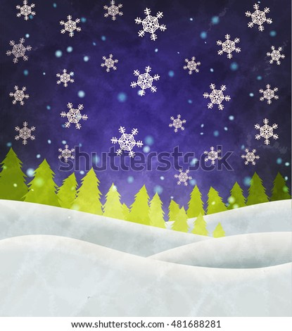 Vector christmas winter night retro background