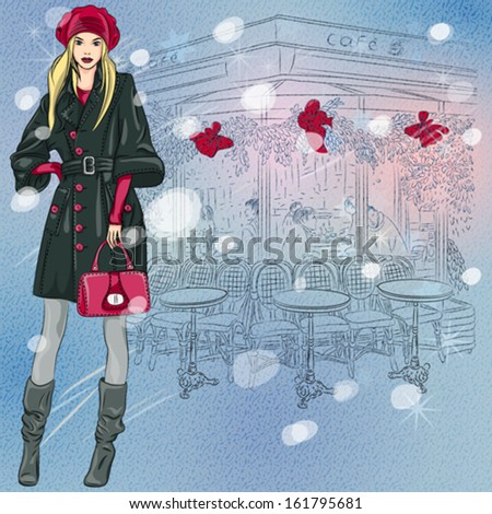 Vector Christmas winter sketch of the beautiful fashionable girl near the Parisian cafe with Christmas decorations - stock vector