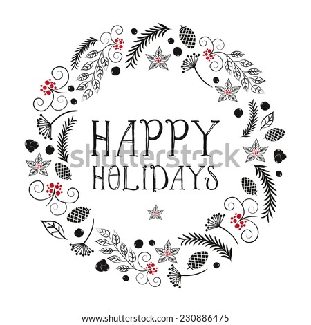 Vector Christmas with wreath made of leafs,pinecone and poinsettia. Illustration and Vector design. Happy Holidays - stock vector