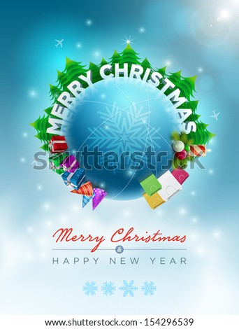 Vector Christmas world illustration. Christmas and new year greeting design template. Elements are layered separately in vector file. Easy editable. - stock vector