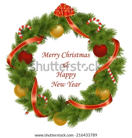Vector Christmas Wreath - stock vector
