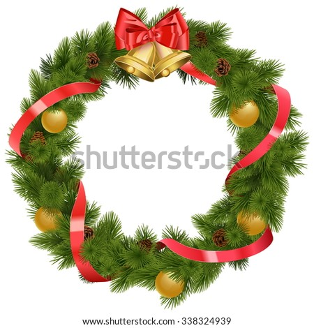 Vector Christmas Wreath with Bells - stock vector
