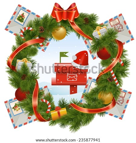 Vector Christmas Wreath with Mailbox - stock vector
