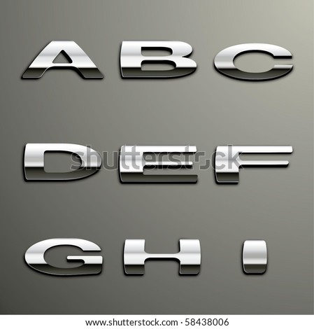 Vector Chrome Alphabet - stock vector