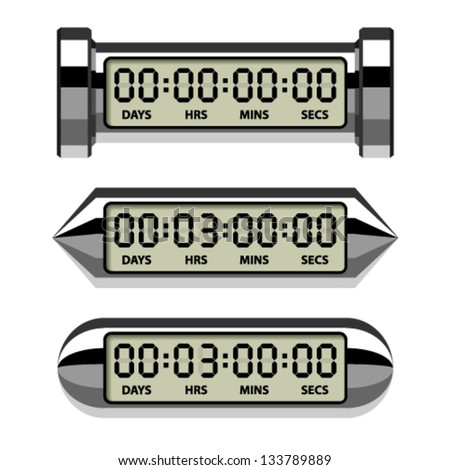 vector chrome LCD counter - countdown timer - stock vector