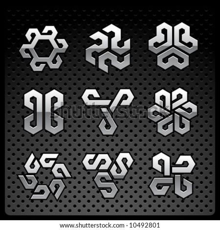 Vector chrome logo set - stock vector