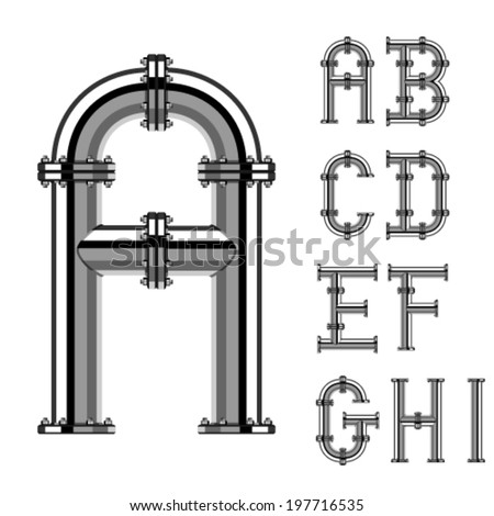 vector chrome pipe alphabet letters part 1  - stock vector