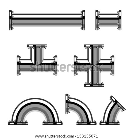 vector chrome pipes with flange - stock vector