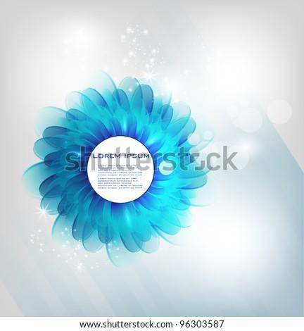 Vector chrysanthemum blue flower vector card.  abstract - stock vector