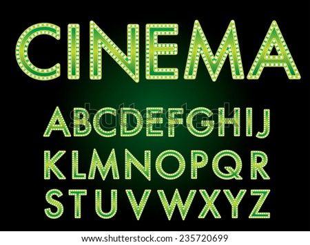 Vector cinema font. - stock vector