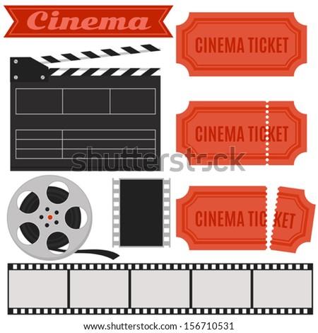 Vector cinema set in retro style with cinema ticket, clapper board, film - stock vector