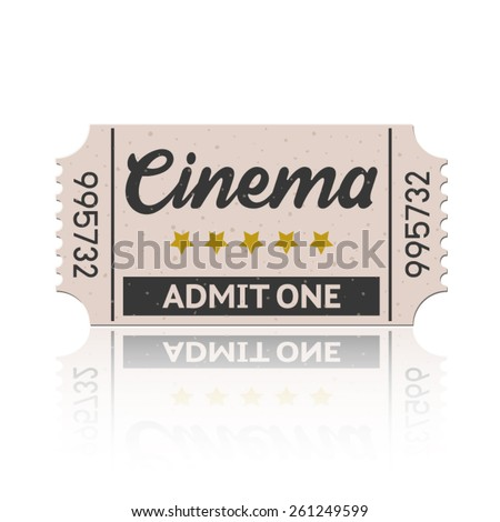 Vector cinema ticket with reflect in retro style set