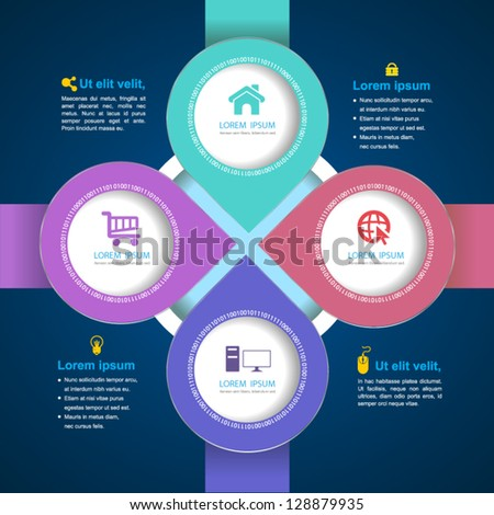 Vector  circle arrow business concepts with  icons / can use for info-graphic / loop business report or plan / modern template / education template / business brochure /  system diagram - stock vector