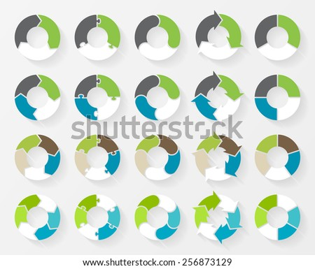 Vector circle arrows for infographic. Template for cycle diagram, graph, presentation and round chart. Business concept with 3, 4, 5, 6, options, parts, steps or processes.  - stock vector