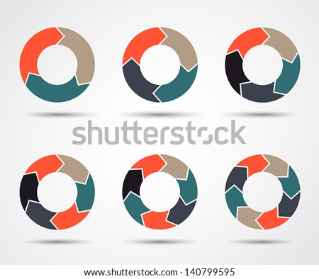 Vector circle arrows for infographic. Template for diagram, graph, presentation and chart. Business concept with three, four, five, six, seven and eight options, parts, steps or processes. - stock vector