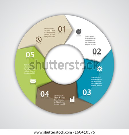 Vector circle arrows for infographic. Template for diagram, graph, presentation and chart. Business concept with five options, parts, steps or processes. Abstract background. - stock vector