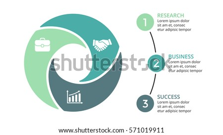 Vector circle arrows infographic, cycle diagram, graph, presentation chart. Business concept with 3 options, parts, steps, processes. 16x9 slide template.