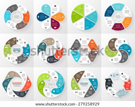 Vector circle arrows infographic. Template for cycle diagram, graph, presentation and round chart. Business concept with 6 equal options, parts, steps or processes. Abstract background - stock vector
