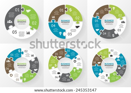 Vector circle arrows puzzle infographics set stock vector 245353147 vector circle arrows puzzle infographics set template for diagram graph presentation and chart ccuart Images