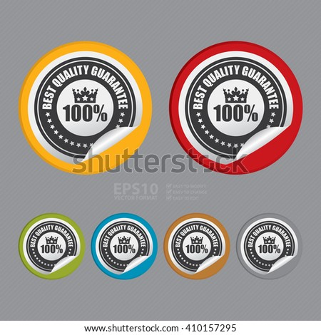 Vector : Circle 100% Best Quality Guarantee - Product Label, Campaign Promotion Infographics Flat Icon, Peeling Sticker, Sign - stock vector