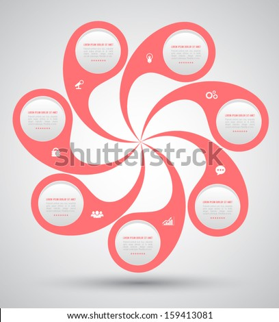 Vector circle business concepts with icons / can use for infographic / loop business report or plan / modern template / education template / business brochure / system diagram  - stock vector