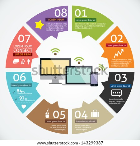 Vector circle computer and mobile device concepts with icons infographics