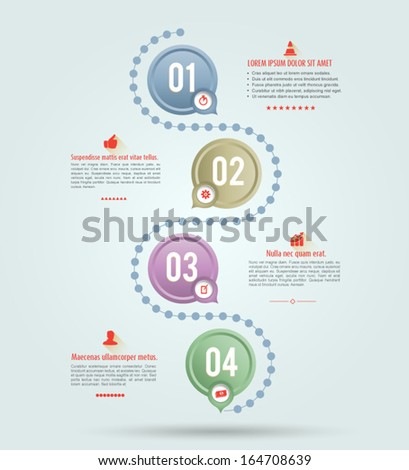 Vector circle connection with number and icons long shadows / loop business / modern template / education plan. - stock vector